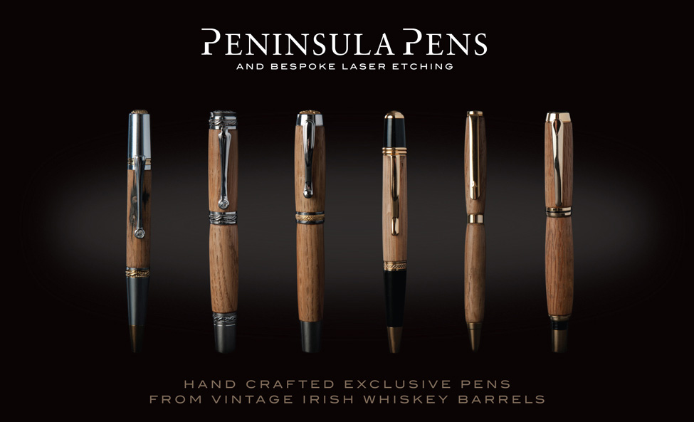 Hand crafted Exclusive pens from vintage Irish Whiskey barrels